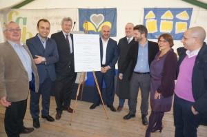 Plaque commémorative de l'inauguration du site Gaucheret  - 25 logements sociaux - à Schaerbeek